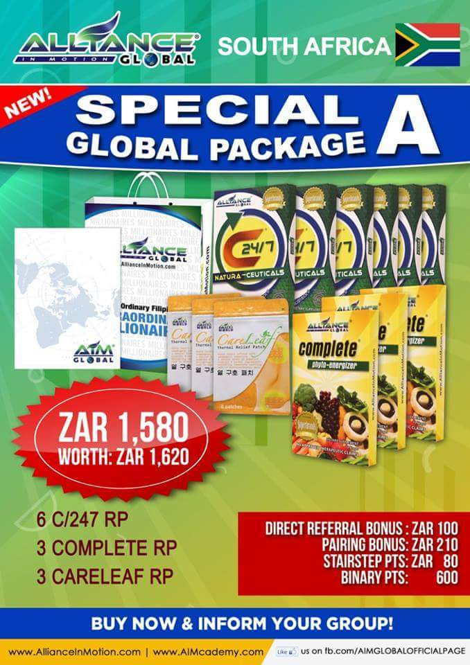 ALLIANCE IN MOTION GLOBAL SOUTH AFRICA  PACKAGES